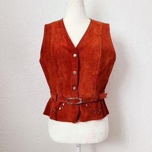 70s Vintage Brown Suede Leather Boho Belted Vest